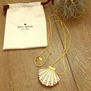 Kate Spade Gold Crystal Oyster Pearl Necklace